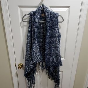 Navy and white fringe trimmed sweater vest